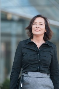 Erika Englitz zu Beginn ihrer Selbstständigkeit auf dem Weg zu einem Kunden.